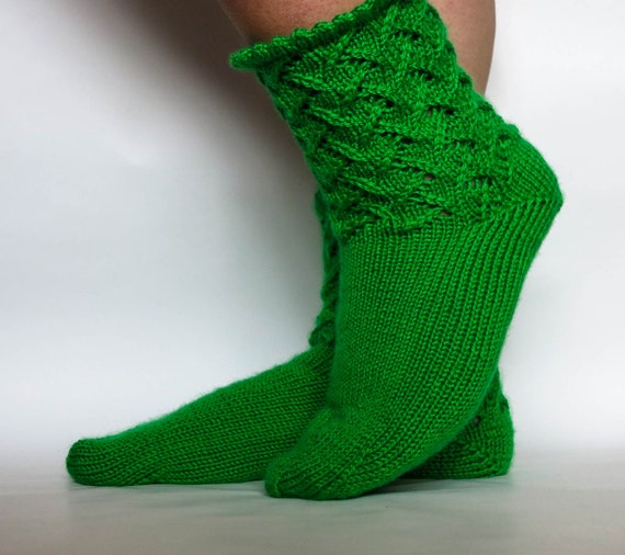 Casual Socks Socks Size 5-6 Hand Knit Women/'s Green Tea Socks with Lace Cuff