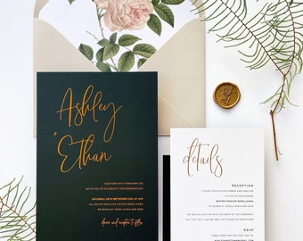 Little Bridge Design Summer and Spring Gold Foiled Watercolour Garden Wedding Invitation Simple and Elegant Floral Invite DEPOSIT