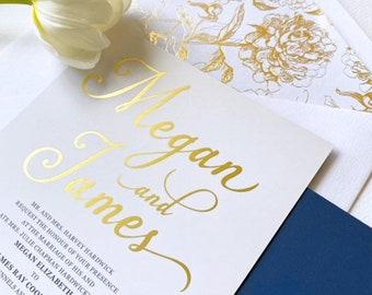 Gold Foiled Wedding Invitation in Navy and White. Modern and Elegant Invites. Navy Invite. Little Bridge Design - DEPOSIT