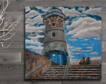 FREE SHIPPING-But i'm still here-Original fine art lighthouse oil painting on deep edges canvas by EMMANOUELA-Size:60x60cm (23,6''x23,6'')