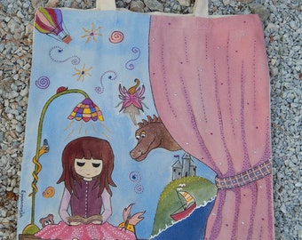 Once upon a time-Hand-painted beige cotton tote bag by EMMANOUELA-Size: 37x41cm (14.6''x16.1'')