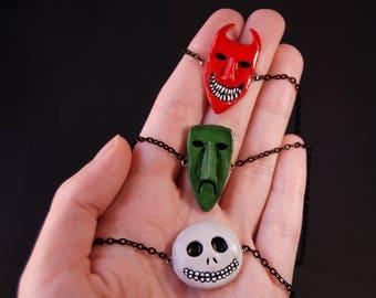 Lock Shock and Barrel necklace, The Nightmare before Christmas jewelry, Tim Burton jewelry, Tim Burton necklace, Halloween jewelry, pendant