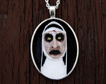 The conjuring nun necklace, the conjuring valak, valak necklace, demon nun necklace, the conjuring 2, horror necklace, horror jewelry, OOAK