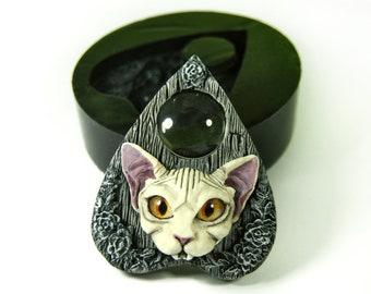 Ouija Sphynx Cat Silicone Mold, Vampire cat Mold, Mold for Resin, Resin Mold, goth mold, vampire cat, Ouija Mold, ouija planchette mold