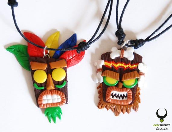 necklace aku aku and uka uka crash bandicoot aku aku aku aku etsy