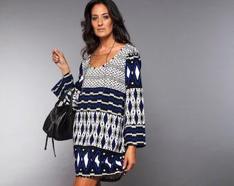 90797e968f8 Geometric Boho Dress Bohemian Clothing Blue Dress Print Long Sleeve Dress  Midi Dress Oversized Dresses for Wife Blue Geometric Dress Gift