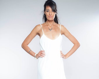 MOTHERS DAY GIFT, White Midi Dress, Bridesmaid Dress, White Sundress, Summer Dress, Sleeveless Dress, Holiday Clothing, Midi Dress, For Her