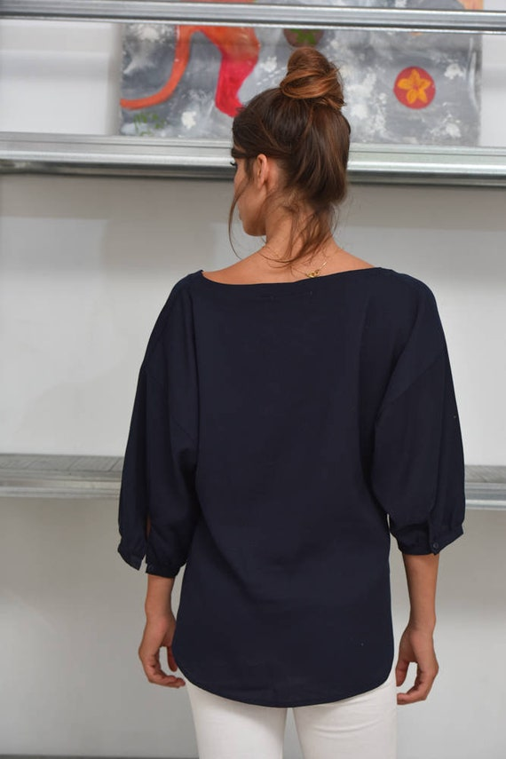 SALE Half Loose Blue Women Clothing Loose Gift Shirt Blouse Top Blue Clothing 4148 Top Blouse Her Womens Sleeve Statement For Holiday rIqCWPYwrx