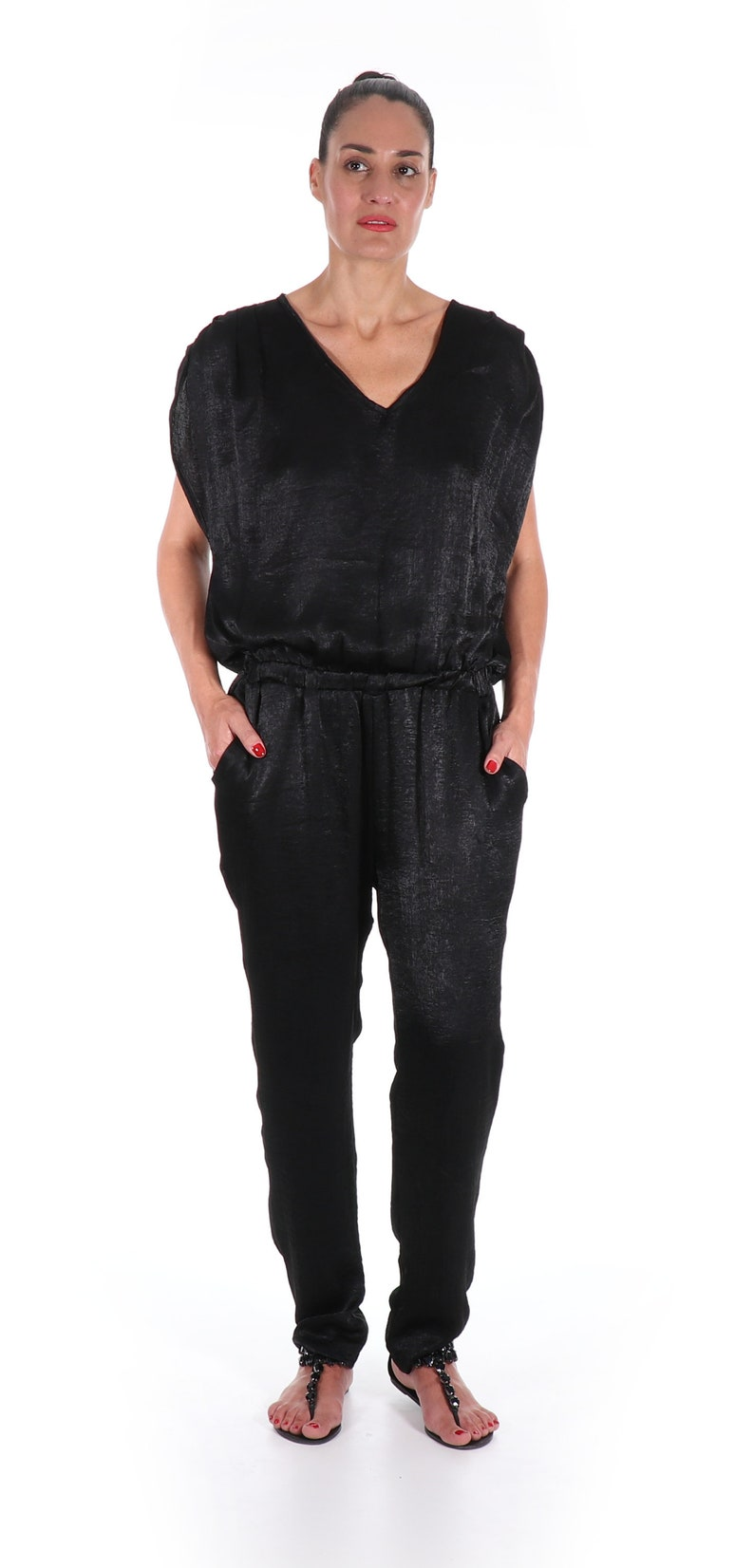 00829279b8f8 Black Jumpsuit Womens Black Overalls Sexy Jumper Short