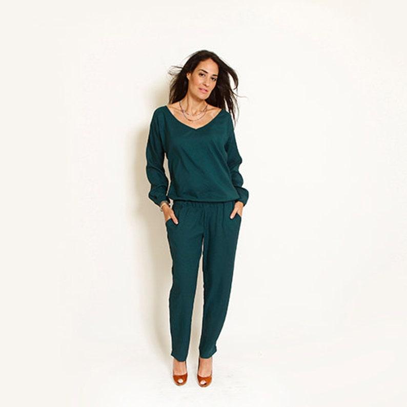 3bccc6a5c37f Long Sleeve Romper Womens Gift Green Jumpsuit Womens