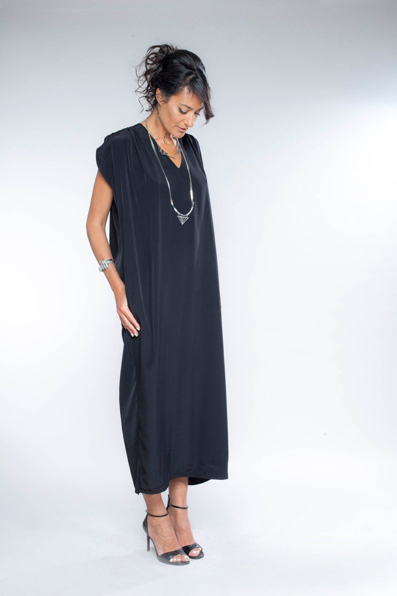 5e73cfcacfa Summer Drape Dress, Black Dress, , Long black Dress, Sleevless dress,  Summer dress, , Maxi dress, Black Evening dress, urban dress