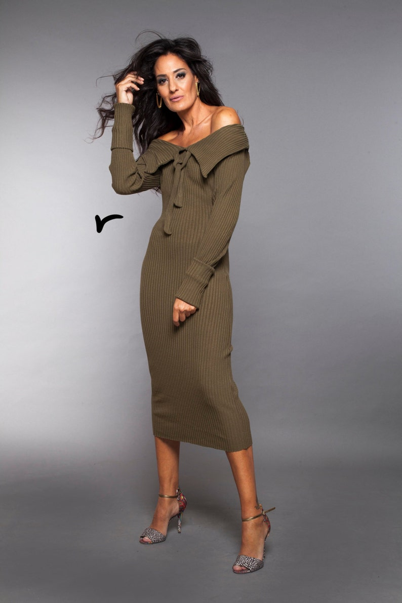 d6c837a45914 Olive Green Dress Pencil Cocktail Dress Long Sleeve Dress | Etsy