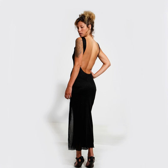Open Back Dress Black Maxi Dress Womens Gift Bohemian Etsy