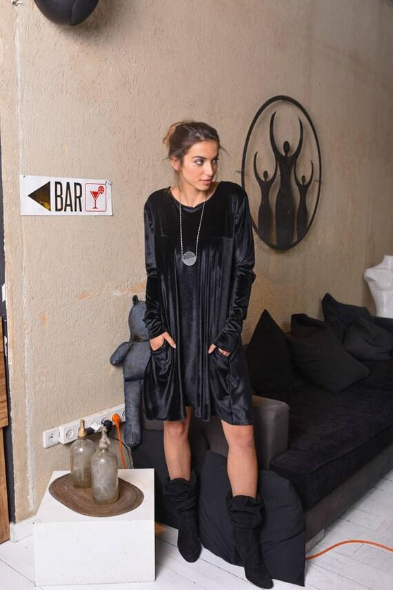 Wedding 4243 Womens Gift Velvet Bff Dress Gift SALE for Sleeve Mini Black Black Gift Black Loose Dress Wife Dress Black Long Dress Dress ZBwd5qxA