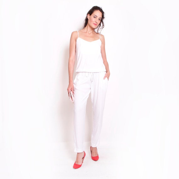 Womens Romper White Jumpsuit Womens Jumpsuit Womens Gift Etsy