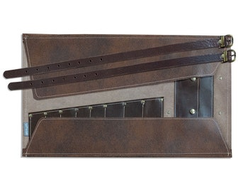 Tool Roll, brown leather, with pockets to store your tools