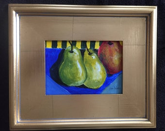 Three Pears Acrylic Original Still Life Painting