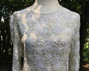 f1e6f0c10ae Off white beaded and sequinned long sheer top sized L
