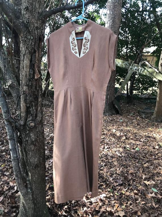 Mary Muffet original 1940s brown linen dress