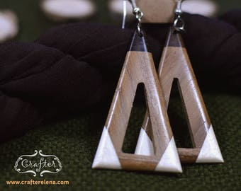 Triangle Coconut Natural Eco Earrings - Geo Jewellery