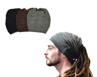 f4b8399040740 Knitted Beanie Reversible Dreadlocks Wool Bandana