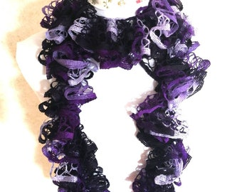 Ombre purple crocheted ruffle scarf