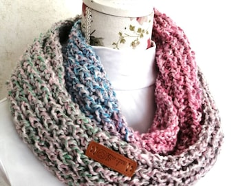 Knitted ombre infinity scarf - pink, baby blue, mint green and gray