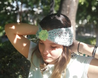 Mint green and pink knitted headwrap/headband