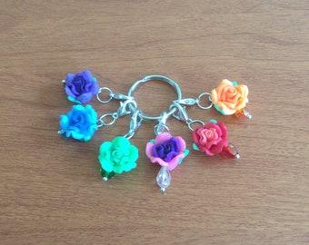 Rainbow flower stitch markers set