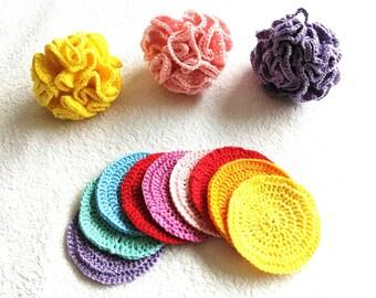Crocheted cotton bath pouf and 3 piece face scrubbies set - different colors available