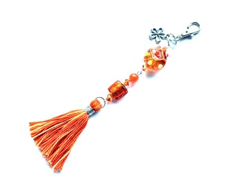 Purse charm/keychain, orange lamp work beaded with tassel