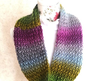 Knitted multicolor long cowl/infinity scarf