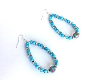 Turquoise teardrop beaded hoop earrings