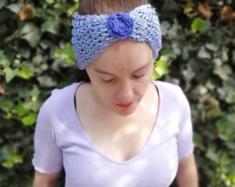 Blue and lavender knitted headwrap/headband