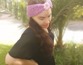 Fuchsia and purple knitted headwrap/headband