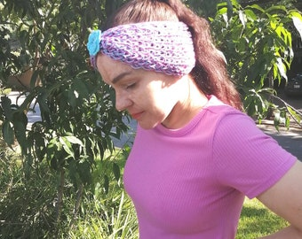 Knitted headwrap/headband, blue and fuchsia