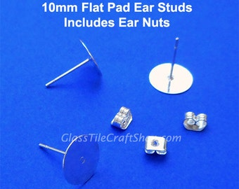 50pr 10mm Flat Pad Earring Stud Blanks, Silver Plated, Ear Stud, Earring Findings, Stud Earring Posts, Stud Earring Blanks, (FPES10M)