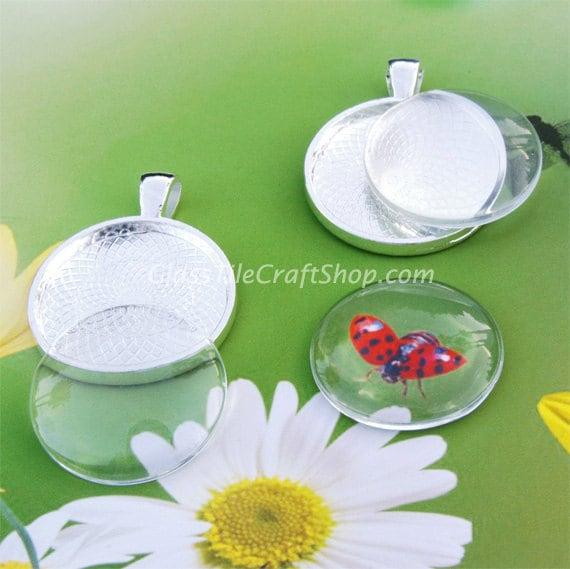 Pendentif 40 plateaux verre Inserts - 25mm pendentif plateaux et Cabochons Inserts. (KITRDTRDC)
