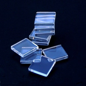 Clear Glass Square Flat Tiles. 25mm 1SQFCAB 1 inch 40 Clear Glass Cabochons