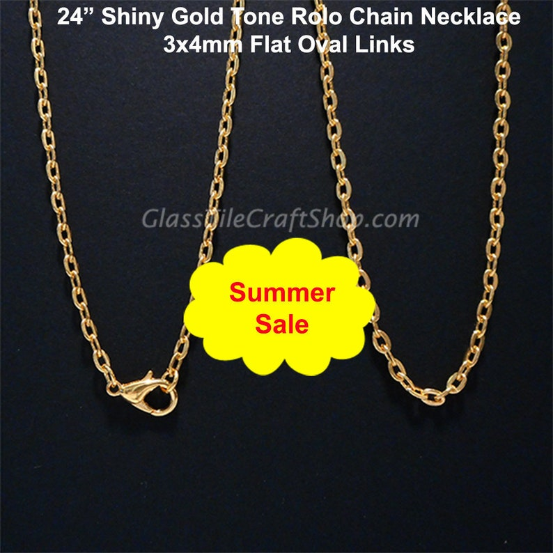 """Pick Qty 24/"""" Flat Oval Link Necklaces Gold Silver Bronze 2x3mm 3x4mm 4x6mm"""