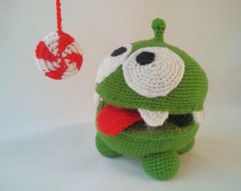 Om Nom amigurumi plushy | Cut the Rope | Stuffed Om Nom | Om Nom toy