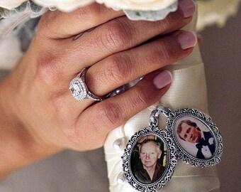 Silver Bouquet Photo Charm. Antique Silver Wedding Memorial. Choose quantity at checkout. Bridal Keepsake Shower Gift.Pet Memorial