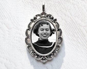 Silver Memorial Photo Charm. Necklace Pendant or Wedding Bouquet Memorial. CUSTOM Oval #15. Photo Jewelry. Bridal Shower Gift Idea for Her