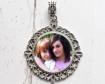 Silver Photo Charm. Vintage Necklace Pendant or Wedding Bouquet Memorial. CUSTOM #5. Personalized Bridal Photo Jewelry. Great Gift Idea