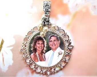 Silver Photo Charm with Pearls or without. Necklace Pendant or Wedding Bouquet Memorial Charm. CUSTOM Round #5ss. Photo Jewelry Valentine