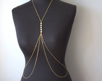 Swarovski  Gold  Body Chain, Body Jewelry, Beach Jewelry, Festival Jewelry, night club,wedding