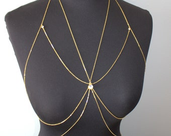 Shine Gold Crystal Body Jewelry,  Bra Chain, Beach Jewelry,wedding beauty,Nightingaleworkshop
