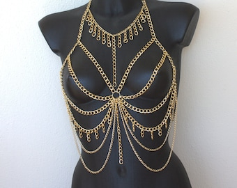 563f2413880107 Gold Bra - Festival Bra - Bra Top - Body Chain - Body Jewelry - Rave outfit  - Festival Bralette Chain - Rave Body Suit