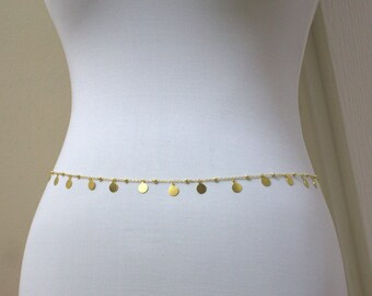 Gypsy Belly Chain,Necklace,festival jewelry,beach jewelry,Ball Chain,Gold discs,dangle,
