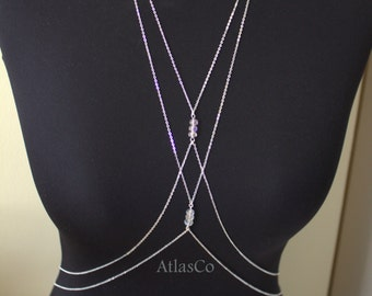 DOUBLE - Crystal- Body Jewelry, Beach Jewelry, Body Chain, Silver ,Gold